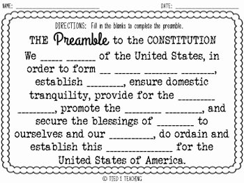 The Us Constitution Worksheet Elegant Constitution Preamble Weholdthesetruths by Tied 2