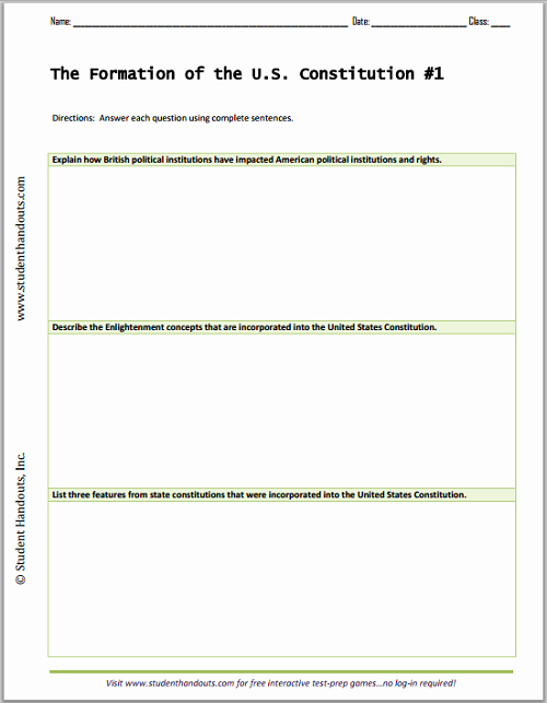 The Us Constitution Worksheet Fresh formation Of the U S Constitution Essay Questions