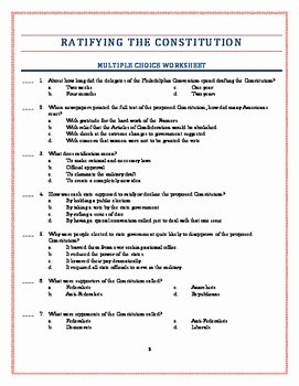 The Us Constitution Worksheet Inspirational American History Worksheets Ratifying the Constitution