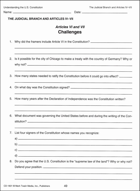 The Us Constitution Worksheet Inspirational Understanding the U S Constitution Details