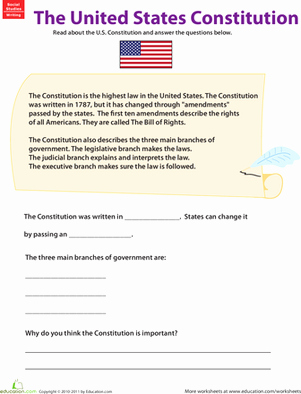 The Us Constitution Worksheet Lovely Learn About the U S Constitution Worksheet