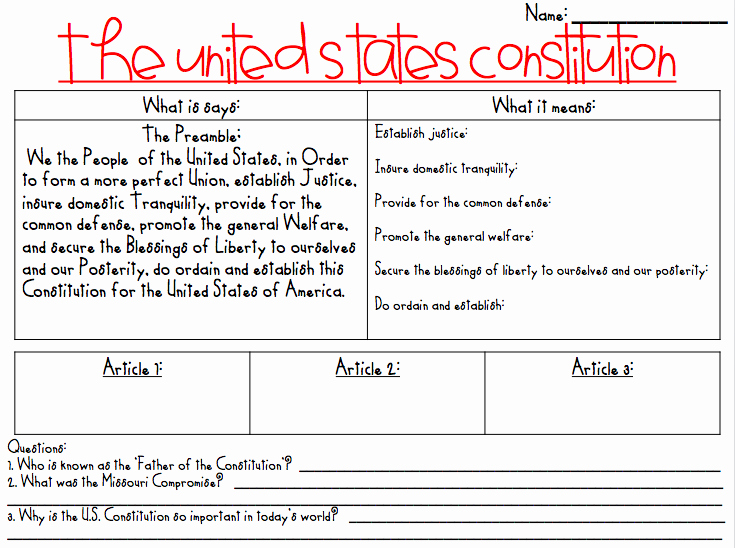 The Us Constitution Worksheet Lovely Teaching the Constitution