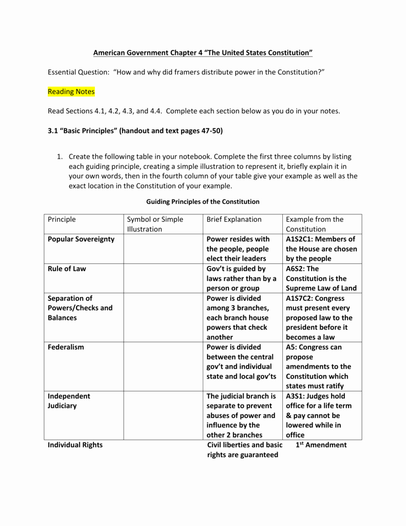 The Us Constitution Worksheet Lovely Understanding the Us Constitution Worksheet Answers