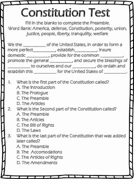 The Us Constitution Worksheet Luxury Constitution Test by Ferguson S Fourth Grade