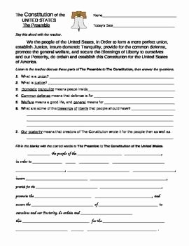 The Us Constitution Worksheet Luxury U S Constitution Preamble and Bill Of Rights Worksheets
