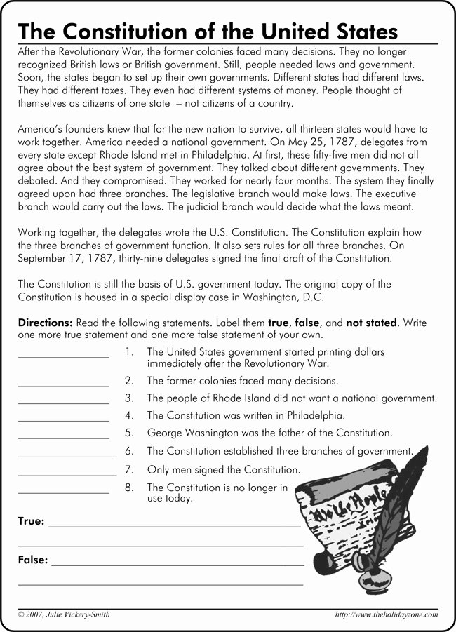 The Us Constitution Worksheet New Constitution Printable Worksheets