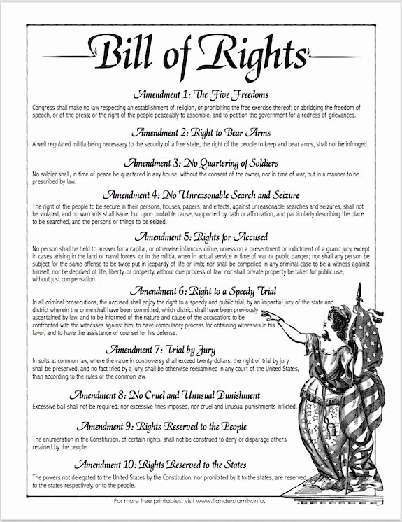 The Us Constitution Worksheet New Free Printable Copy Of the Bill Of Rights From