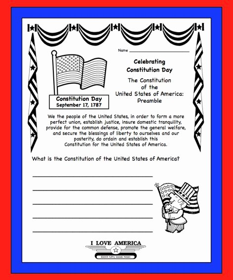 The Us Constitution Worksheet Unique U S Constitution Day Sept 17 Free Writing & Coloring