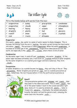 The Water Cycle Worksheet Answers Elegant Water Cycle Worksheet Water Cycle Worksheetc