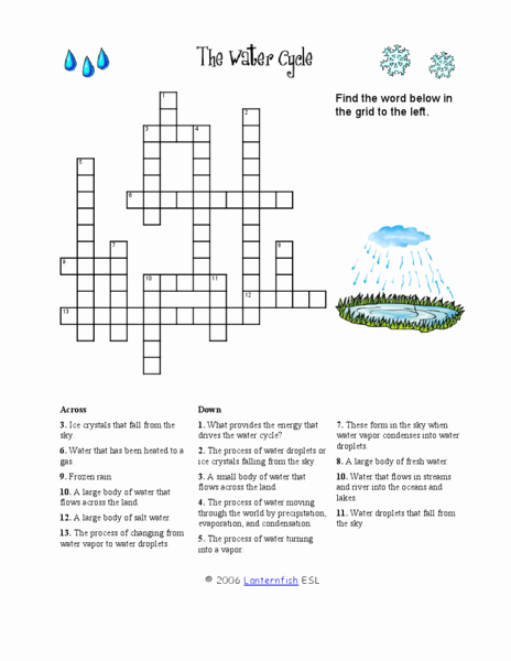 The Water Cycle Worksheet Answers Fresh the Water Cycle Crossword Puzzle Worksheet for 2nd 3rd