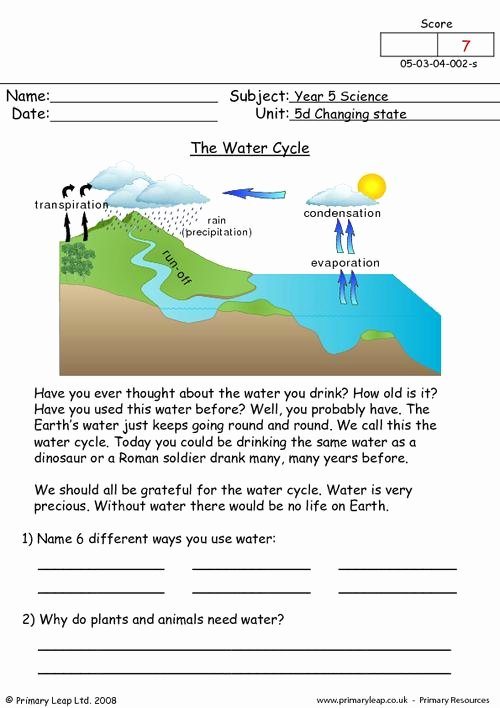The Water Cycle Worksheet Answers Fresh the Water Cycle