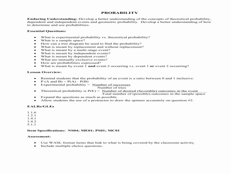 Theoretical and Experimental Probability Worksheet Beautiful theoretical Probability Worksheet Free Printable Worksheets
