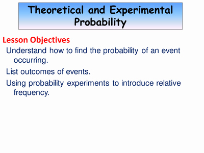 Theoretical and Experimental Probability Worksheet Lovely theoretical and Experimental Probability by Mwknowles Uk