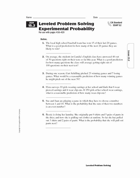 Theoretical and Experimental Probability Worksheet Luxury Problem solving Lesson 11 2 Experimental Probability