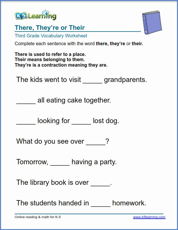 There is there are Worksheet Awesome Grade 3 Vocabulary Worksheet Use there they Re or their