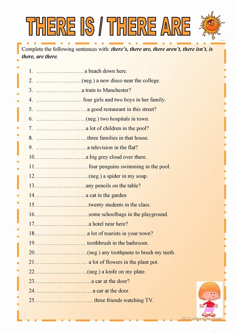 There is there are Worksheet Best Of there is or there are Worksheet Free Esl Printable