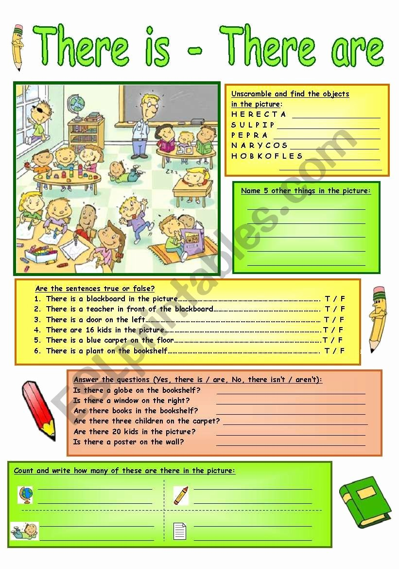 There is there are Worksheet Inspirational there is there are Esl Worksheet by Mish