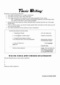 Thesis Statement Practice Worksheet Awesome Developing thesis Statements Literature Essay by A