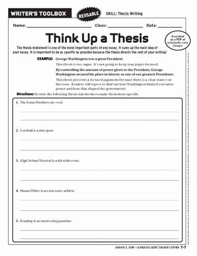 Thesis Statement Practice Worksheet Beautiful How to Write A thesis Statement Worksheet