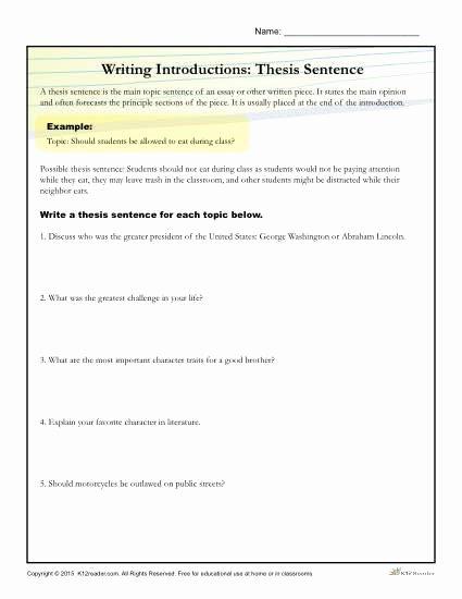 Thesis Statement Practice Worksheet Elegant How to Write A thesis Statement Worksheet Activity