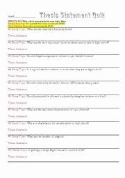 Thesis Statement Practice Worksheet Elegant thesis Statement Practice Exercises Middle School