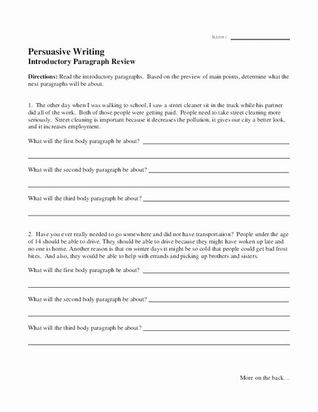 Thesis Statement Practice Worksheet Fresh Persuasive Writing Introductory Paragraph Review