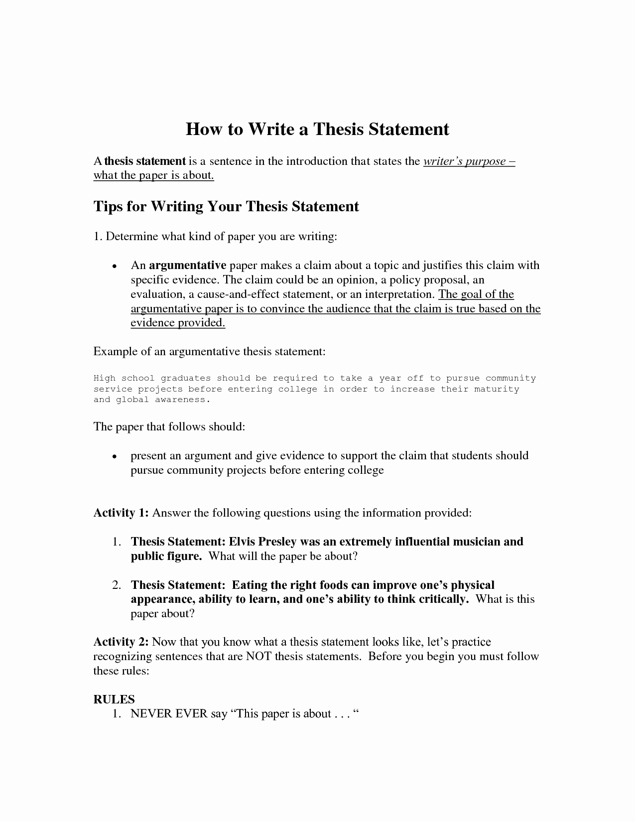Thesis Statement Practice Worksheet Lovely How to Use Free Essay Samples to Generate Your Own