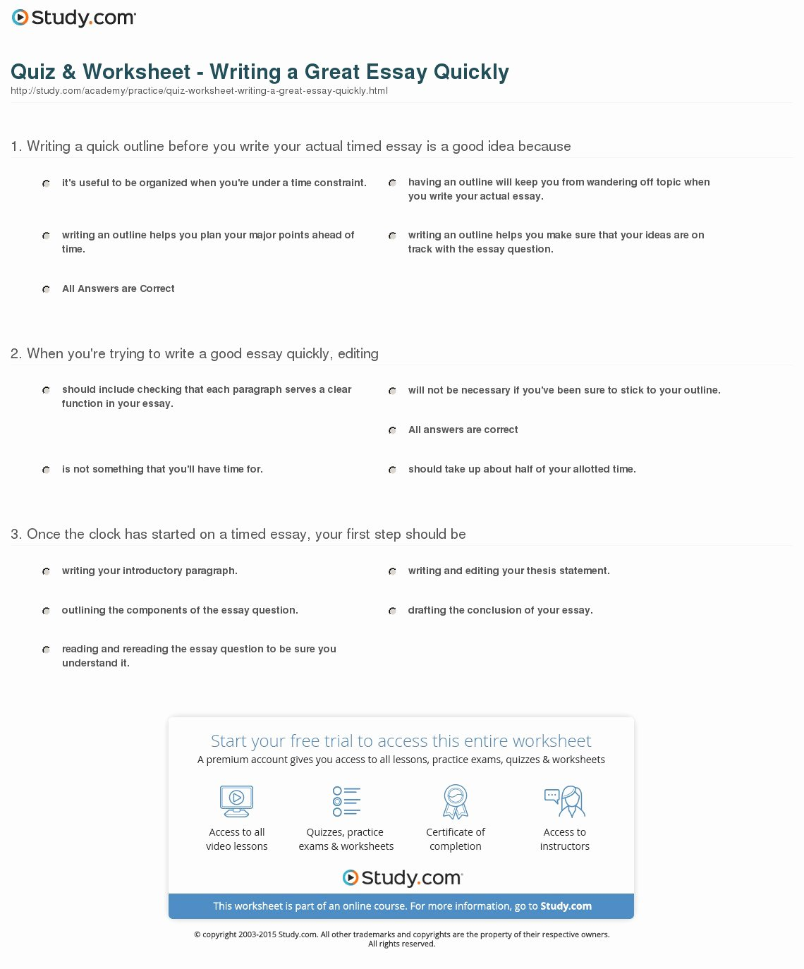 Thesis Statement Practice Worksheet Luxury Quiz & Worksheet Writing A Great Essay Quickly