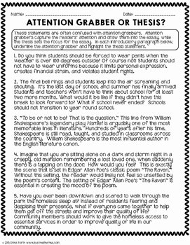 Thesis Statement Practice Worksheet Luxury thesis Statement Practice Worksheets by Erika forth
