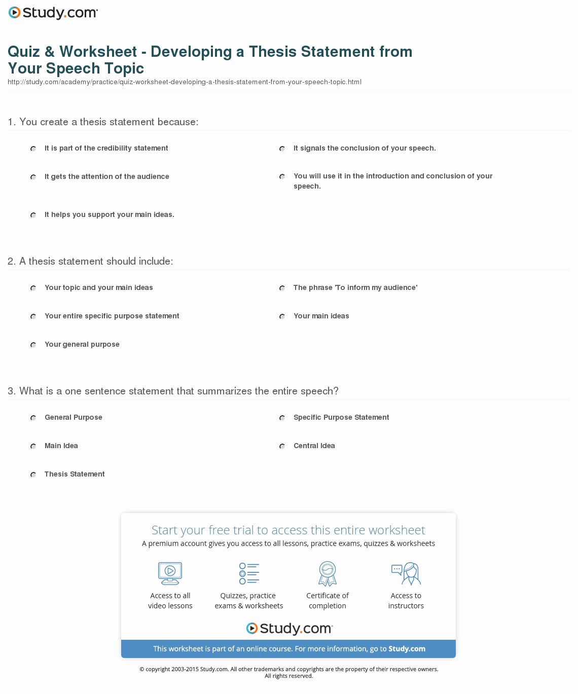 Thesis Statement Practice Worksheet Unique Quiz & Worksheet Developing A thesis Statement From Your
