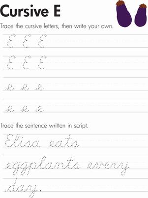 Third Grade Writing Worksheet Beautiful Cursive E Worksheet