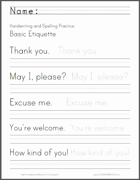 Third Grade Writing Worksheet Elegant Basic Etiquette Handwriting and Spelling Worksheet Free