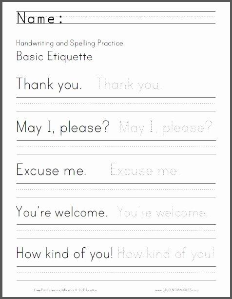 Third Grade Writing Worksheet Elegant Basic Etiquette Handwriting and Spelling Worksheet Free