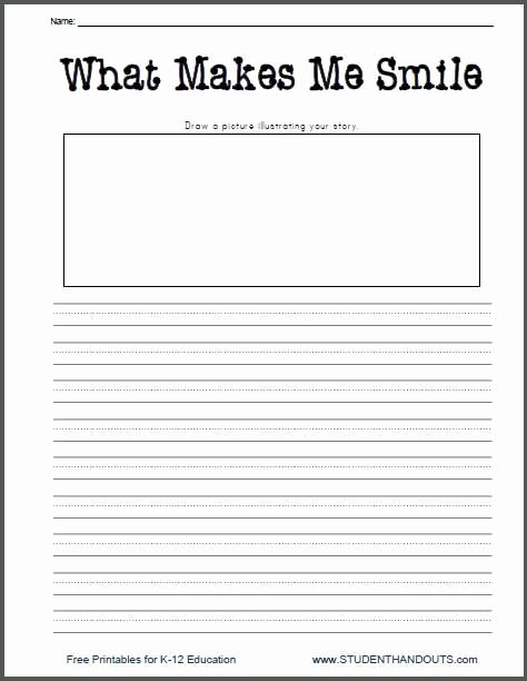 Third Grade Writing Worksheet Elegant What Makes Me Smile Free Printable K 2 Writing Prompt