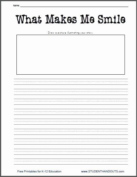 Third Grade Writing Worksheet Elegant What Makes Me Smile Free Printable K 2 Writing Prompt