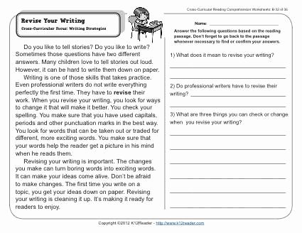Third Grade Writing Worksheet Lovely Revise Your Writing