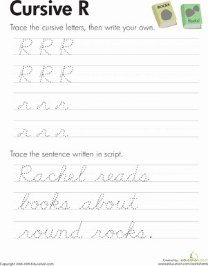 Third Grade Writing Worksheet New Cursive R Worksheet