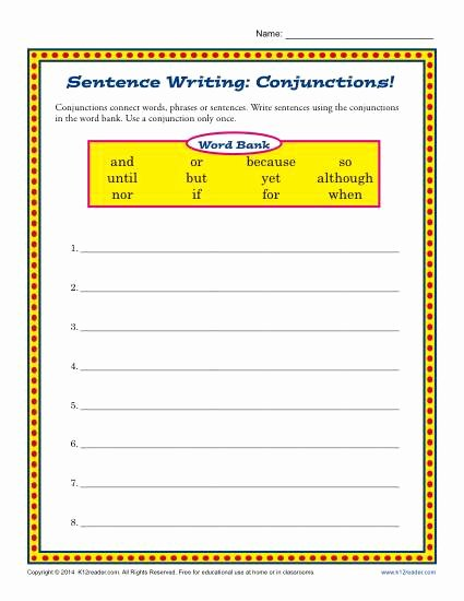Third Grade Writing Worksheet New Sentence Writing Junctions