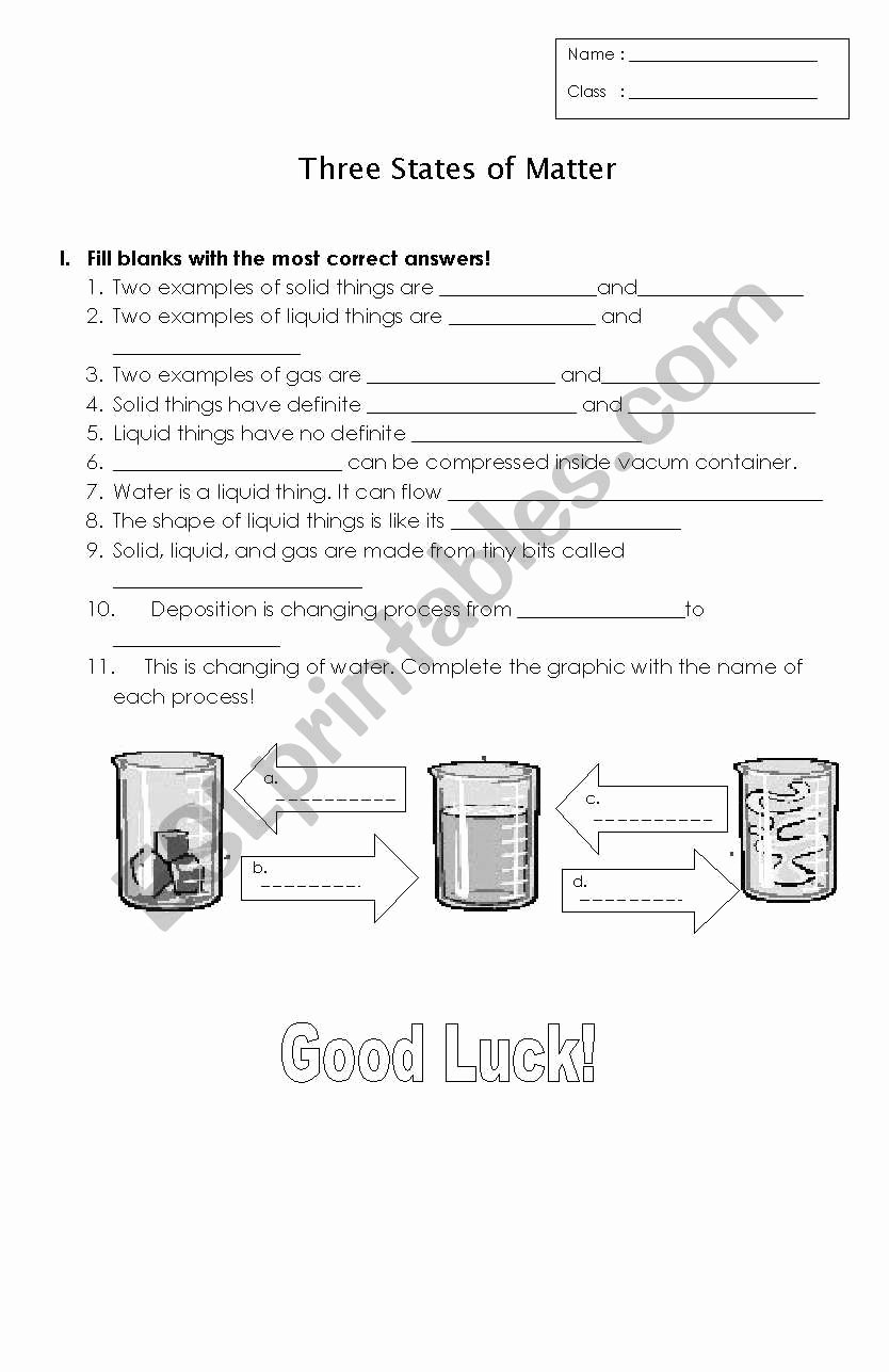 Three States Of Matter Worksheet Fresh English Worksheets Three States Of Matter