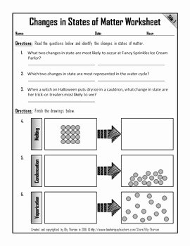 Three States Of Matter Worksheet Lovely Changes In States Of Matter Worksheet by Elly Thorsen