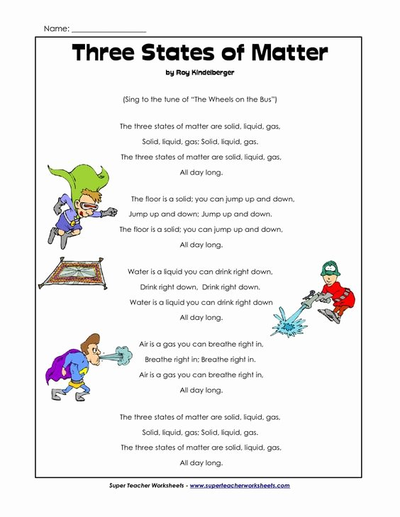 Three States Of Matter Worksheet Lovely States Of Matter Us States and songs On Pinterest