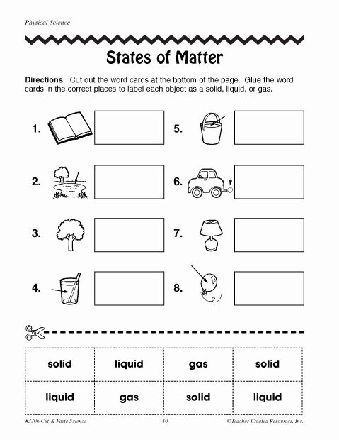 Three States Of Matter Worksheet New Free Printable Phases Of Matter Worksheets