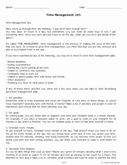 Time Management Worksheet Pdf Awesome Time Management 101 Grades 11 12 Free Printable Tests