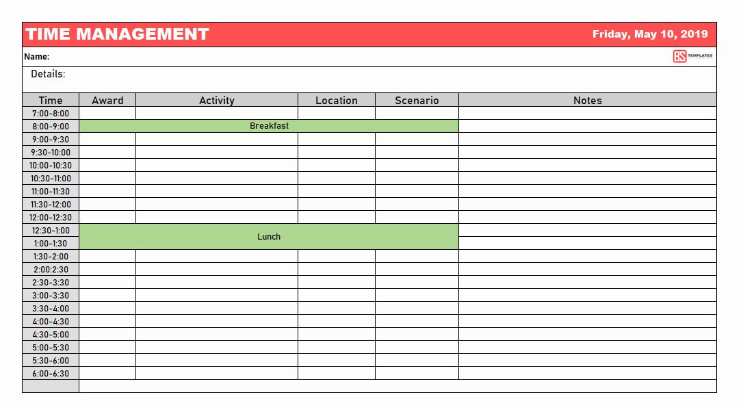 Time Management Worksheet Pdf Beautiful Time Management Worksheet Excel & Pdf Template