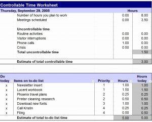 Time Management Worksheet Pdf Best Of Controllable Time Worksheet