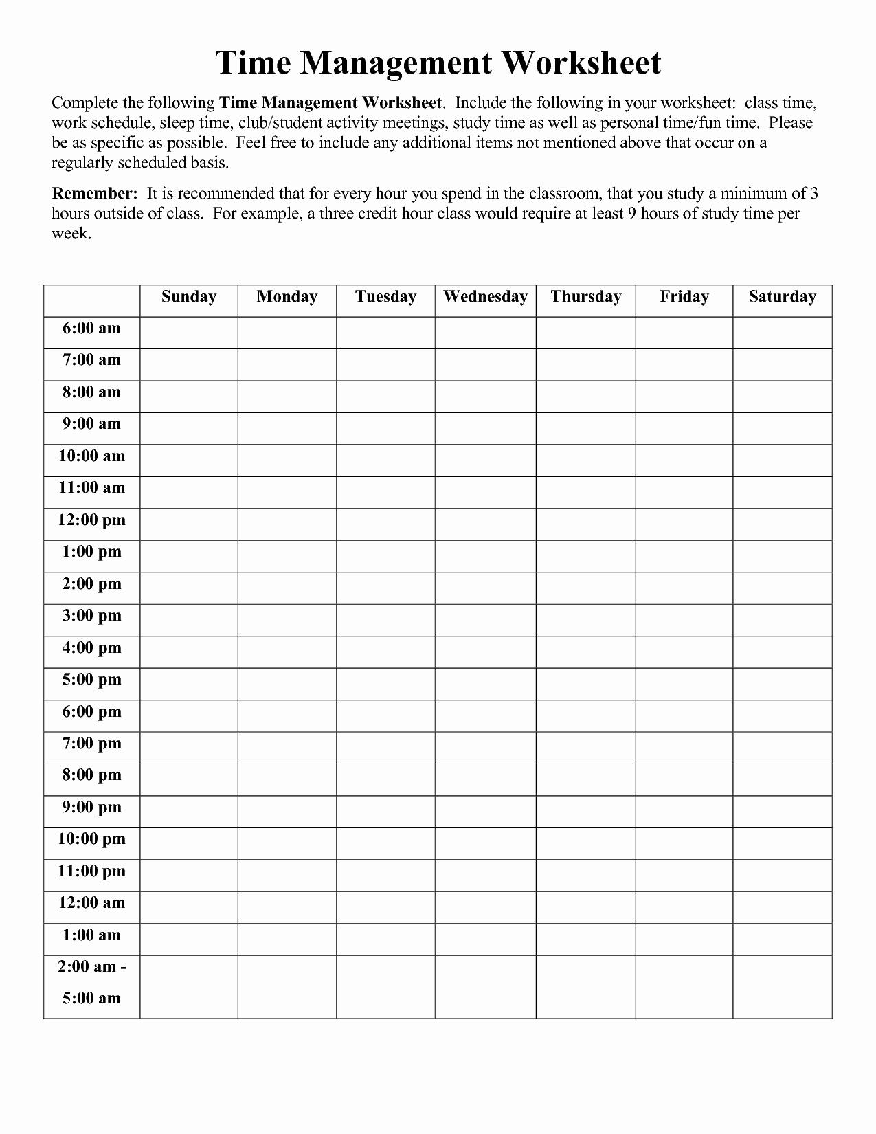 Time Management Worksheet Pdf Inspirational Stress Log Worksheet