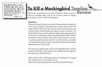 To Kill A Mockingbird Worksheet Awesome to Kill A Mockingbird Review Game Worksheet Of Timeline
