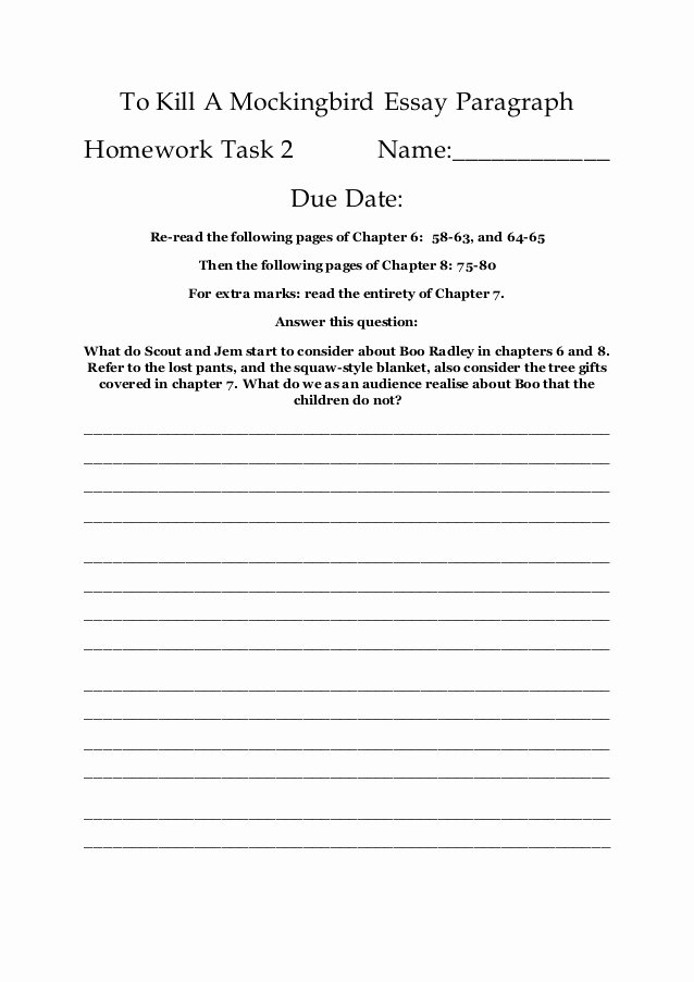 To Kill A Mockingbird Worksheet Best Of Mini Essay 2 to Kill A Mockingbird Essay Paragraph