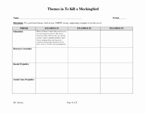 To Kill A Mockingbird Worksheet Best Of themes In to Kill A Mockingbird 8th 9th Grade Worksheet