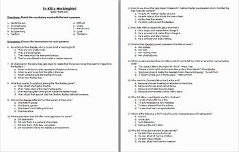 To Kill A Mockingbird Worksheet Best Of to Kill A Mockingbird Quiz Chapters 1 11 by Cami Smith